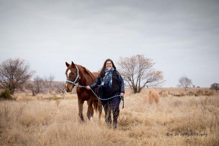horse & woman portrait in bush